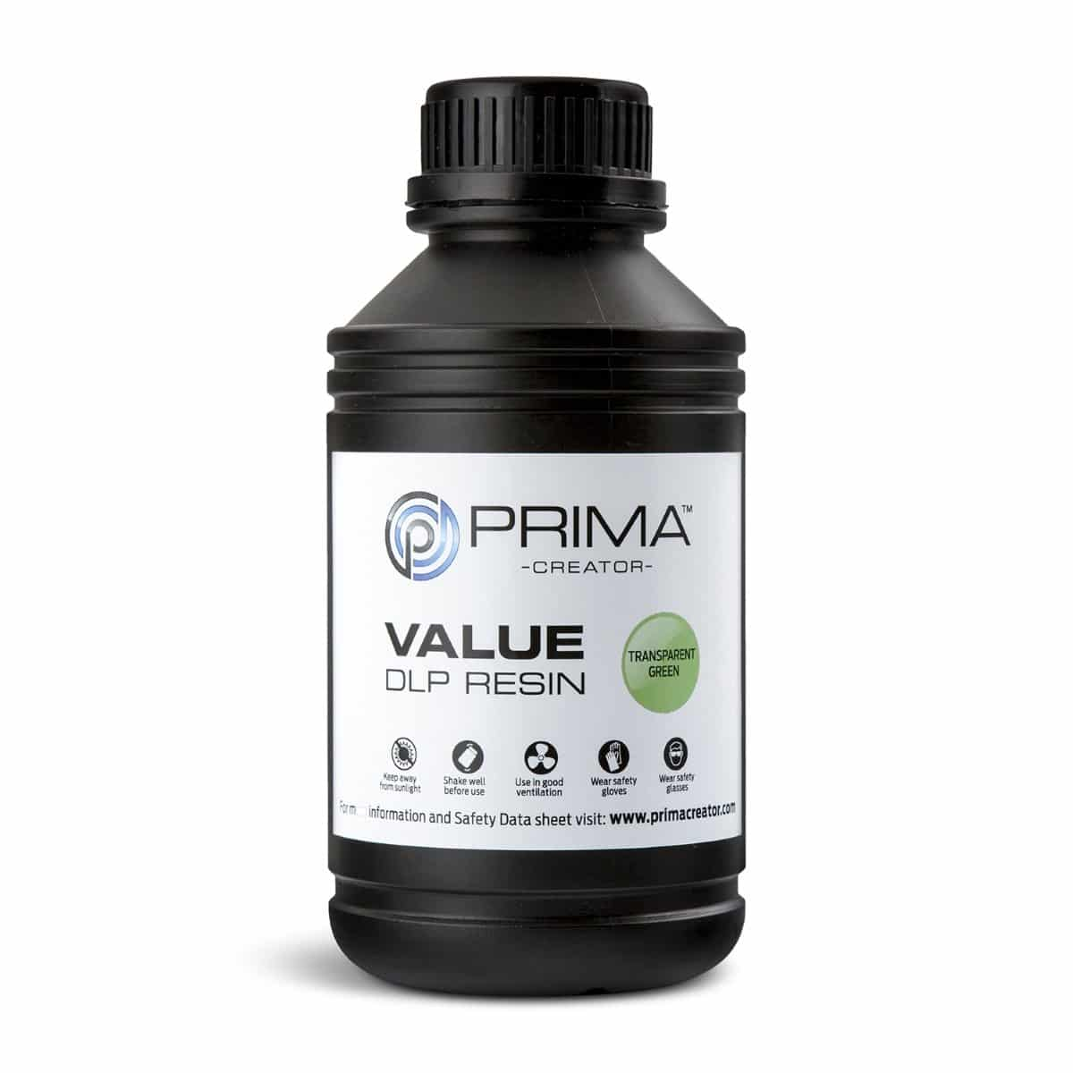 Billede af PrimaCreator Value UV / DLP Resin - 500 ml - Transparent Green