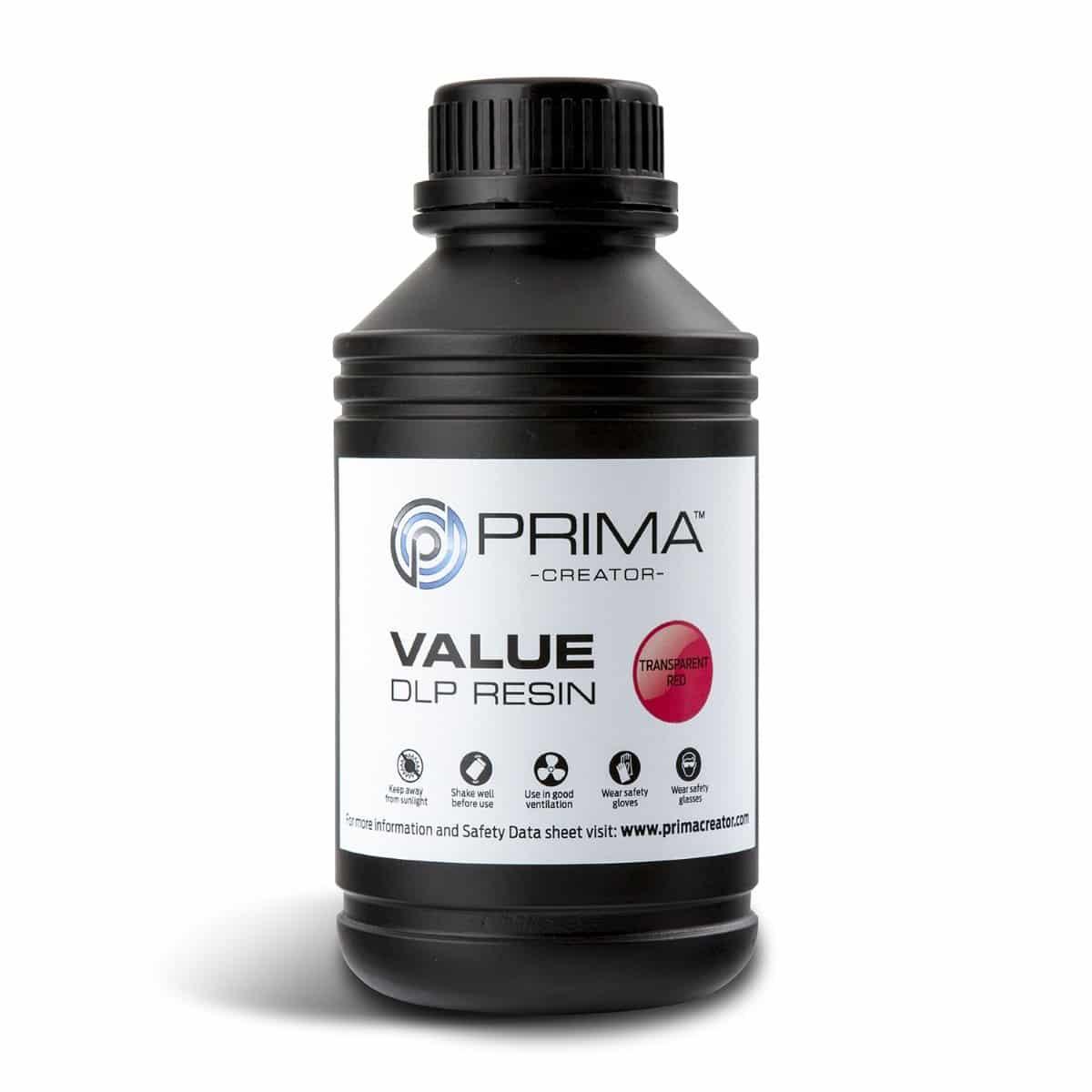 Image of PrimaCreator Value UV / DLP Resin - 500 ml - Transparent Red